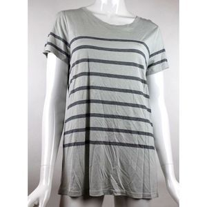 Vince Gray Striped Short Sleeve Knit Top Small